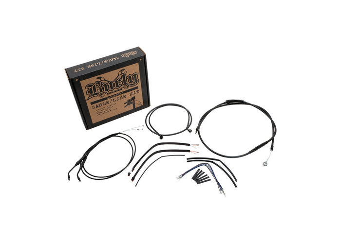 """Burly 07-13 Sportster XL 14"""" Smalle Ape Hanger kabel/leiding set"""