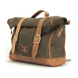 Einseitige Satteltasche aus gewachster Baumwolle Khaki
