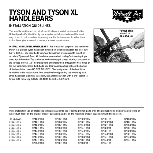 "Biltwell 1"" Tyson Handlebar XL 14"" (Select type) 82-19 H-D"