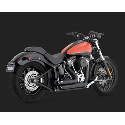 Short-shots Staggered  Black for Softail 12-17