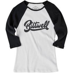 T-shirt Cursive Raglan pour femmes - Noir / Blanc