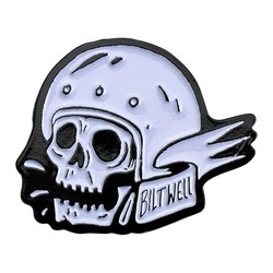 Emaille Pin Skull - Weiß / Schwarz