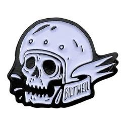 Enamel Pin Skull - Wht/Blk