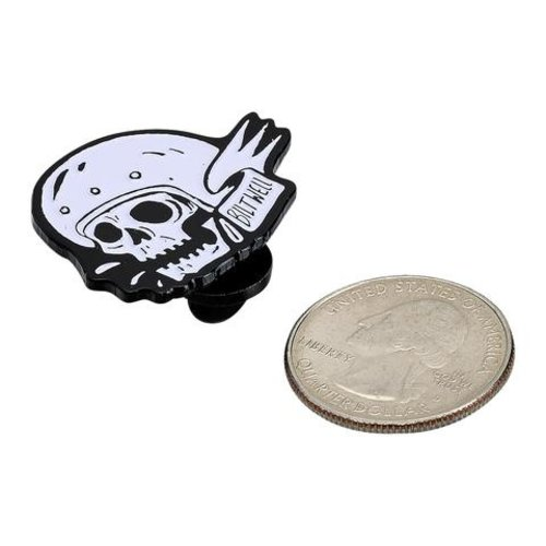 Biltwell Emaille Pin Skull - Wit / Zwart