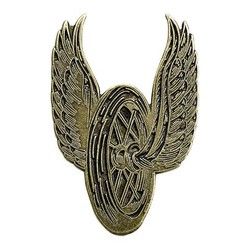 Emaille Pin Winged Wheel  - Messing
