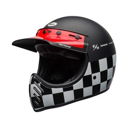 Moto-3 Fasthouse Checkers Motorhelm Zwart/Wit/Rood