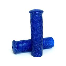 Poignées rétro bleu pailleté 22 mm