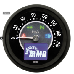 Electronic 48mm Speedo target, black face, 220kmH