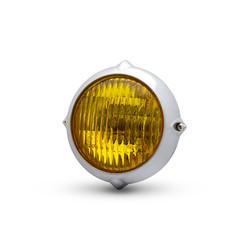 5,5 inch gepolijste vintage koplamp chroom en geel