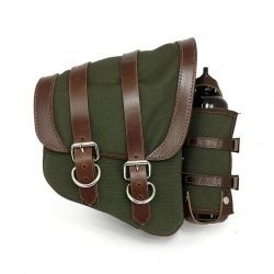 Green Canvas La Rosa Solo Saddle Bag For Harley Davidson Softtail and Rigid