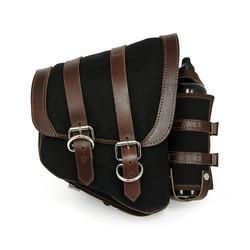 Black Canvas La Rosa Solo Saddle Bag For Harley Davidson Softtail and Rigid