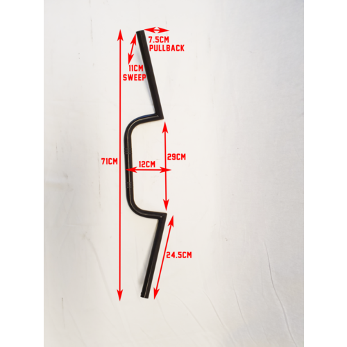 MCU 22mm Cafe Racer M Stuur Zwart Wide Pullback