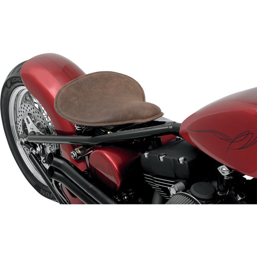 Drag Specialties Grote Solo Seat - Distressed Leather Brown