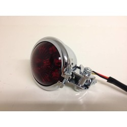 Bates Style LED Red / Chrome Cafe Racer Taillight