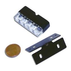 MINI LED-Nummernschildbeleuchtung in Schwarz mit 3 LEDs und Halter