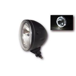 "Bottom Mount 5.75"" Halo Cafe Racer Headlamp H4, Black, E-mark"