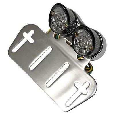 Support de plaque universel avec double feu arrière à LED fumés