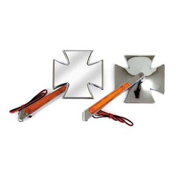 Paire de rétroviseurs avec clignotants à LED - Croix maltaise