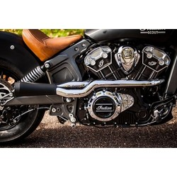2 Into 1 Black/Chrome Exhaust System Indian Scout