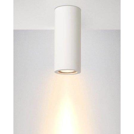 Plafondlamp wit gips rond 170mm hoog met fitting GU10
