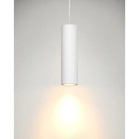 White pendant light plaster cilinder GU10 25cm H