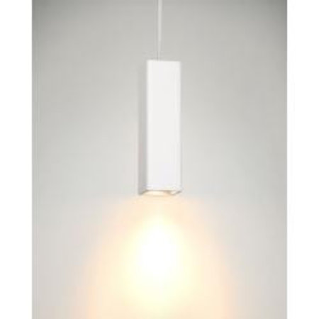 White pendant light plaster square GU10 25cm H