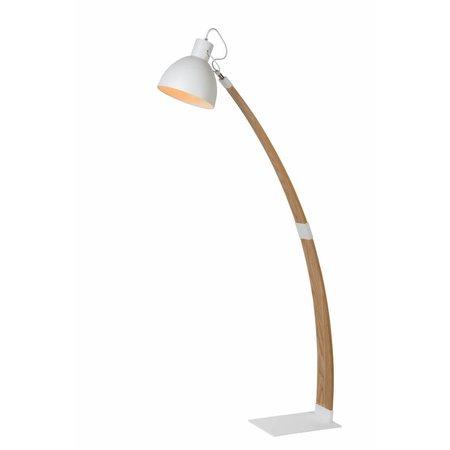 Lampadaire arc bois industriel blanc ou noir 143cm H