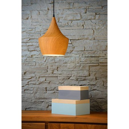 Pendant light design wood colour 24cm diameter E27