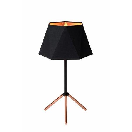 Tafellamp design zwart goud lampenkap 32cm Ø