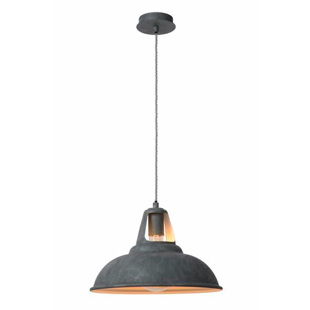Industriële hanglamp grijs zink 45cm diameter E27
