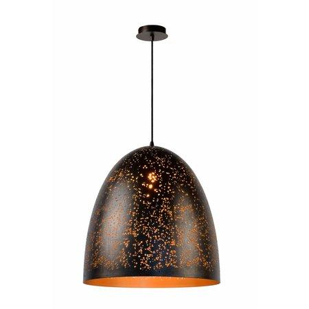 Dome pendant light black gold 49cm diameter E27