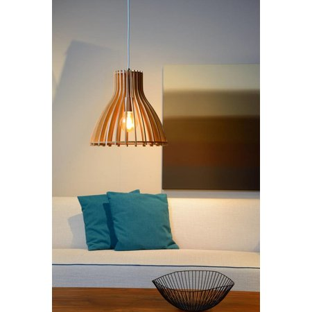 Wooden hanging lamp wood color 350mm Ø E27