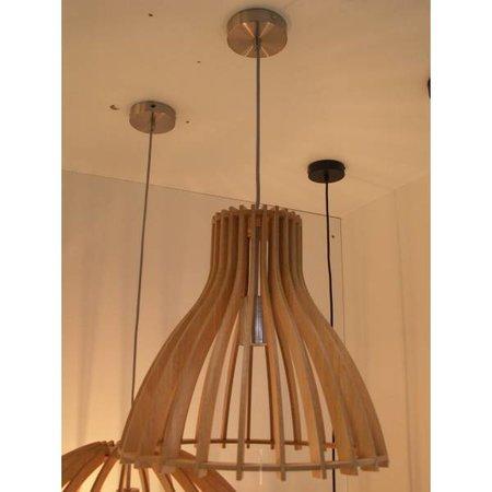 Wooden pendant light white, wood colour 350mm Ø E27