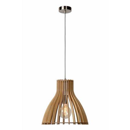 Houten hanglamp wit of houtkleur 350mm Ø E27