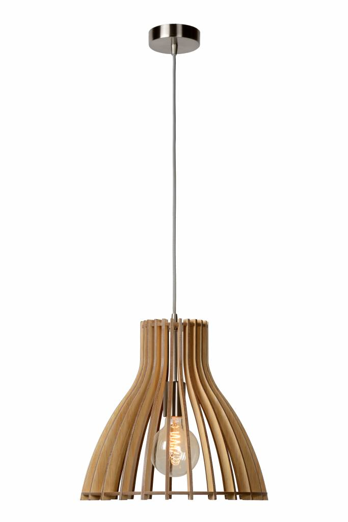 Picture of: Wooden Pendant Light White Wood Colour 350mm O E27 Myplanetled