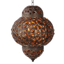 Moroccan pendant light rust, grey lantern 28cm Ø