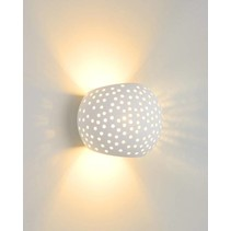 Plaster wall light white oval G9 128mm high