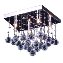 Crystal ceiling light chrome LED G9x4 300x300mm