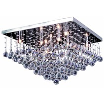 Luminaire cristal chrome LED G9x8 600x600mm