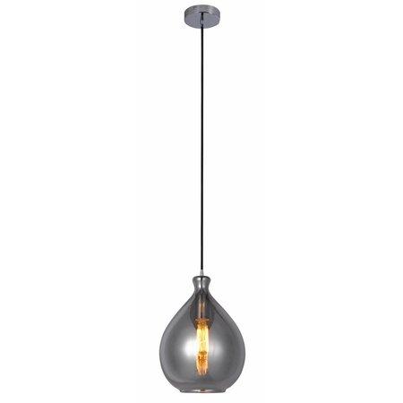 Lustre design verre doré ou gris poire 23cm Ø