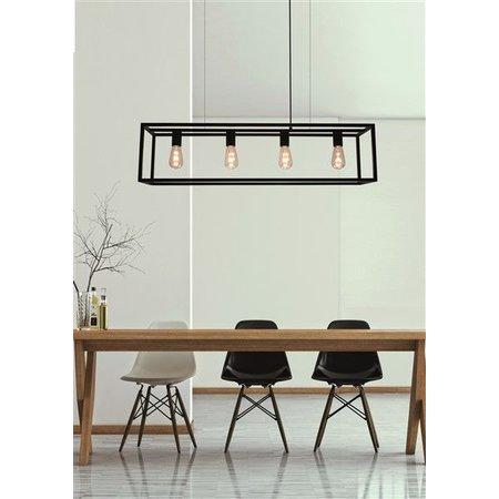 Landelijke hanglamp eettafel zwart, ruggine, koper 1m