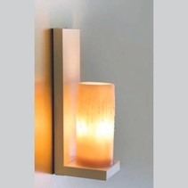 Applique murale bougie chrome-bronze-blanche LED