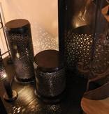 Windlicht messing landelijk cilinder brons, nikkel