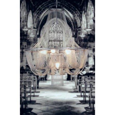Lustre chandelier gris élégant E14x6 67cm diamètre