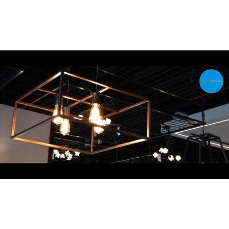 Pendant light black, rust, copper square rustic E27x4