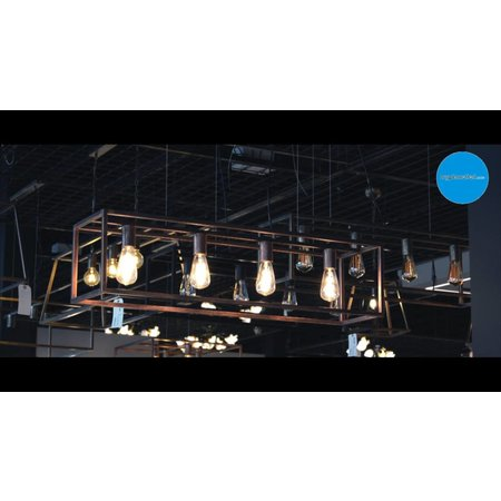 Pendant light black or rust E27x4 1000mm long