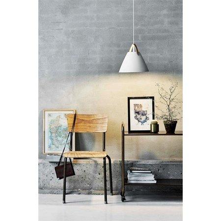Hanglamp Scandinavisch wit, zwart, messing, glas 27cm Ø