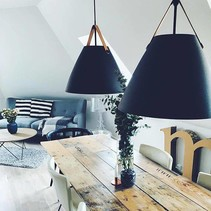 Scandinavian lighting pendant white, black, brass, grey 48 cm Ø