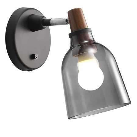 Smoked glass wall light E14 14 cm Ø