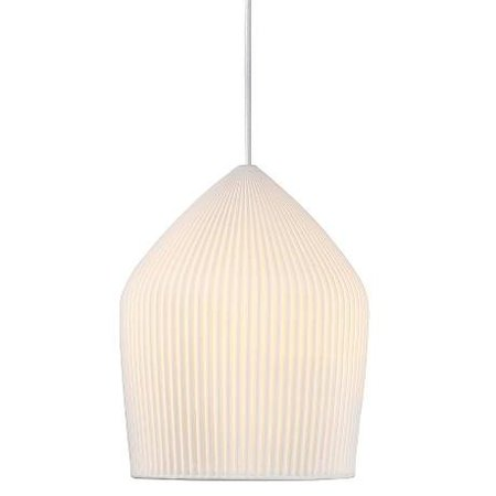 White ceramic pendant light ribbed E27 22 cm Ø